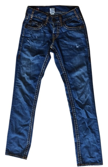 Item - Blue with Gold Stitching Straight Leg Jeans Size 28 (4, S)