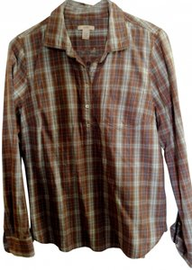 J.Crew Button Down Shirt Plaid light blue and brown/tan tones