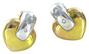 Other 14KT KARAT YELLOW WHITE GOLD DIAMOND HEART EARRINGS ITALY 4.8 GRAMS FINE JEWEL