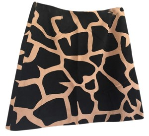Alberta Ferretti Giraffe Suede-like Soft Skirt Brown and Black