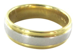 18K SOLID YELLOW GOLD & PLATINUM WEDDING BAND 6MM 8.3 GRAMS RING SZ 8 NOT SCRAP