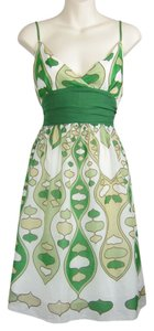 Studio M short dress white, green Faux Wrap Silk Cotton Lowcut Pattern Green on Tradesy