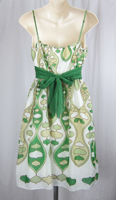 Studio M short dress white, green Sundress Faux Wrap Silk Cotton Lowcut Pattern on Tradesy