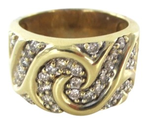 Other 10K SOLID YELLOW GOLD 32 GENUINE DIAMONDS 1 CARAT SCROLL DESIGN NOT SCRAP SZ 8