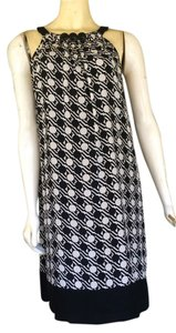 Shoshanna short dress Black Silk & White Print on Tradesy