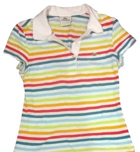 Lacoste French France 36 Stripe T Shirt Rainbow Stripes On White