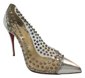 Christian Louboutin Spike Silver Pumps