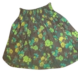 Frenchi Skirt Olive W Greens Yellow Black Aqua