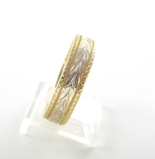 Other 14K SOLID YELLOW WHITE GOLD WEDDING BAND ETCHED FLORAL NOT SCRAP RING 9.4 GRAM