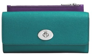 Coach Wristlet in Teal/ Silver/ Purple