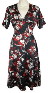 WE Netherlands Foral Black Red Dress