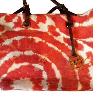 Michael Kors Leather Tie-dye Canvas Tote in Taupe & Orange
