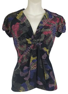Nanette Lepore Flutter Sleeve Cap Sleeve V-neck Collared Drape Cascade Flattering Top multi-colored