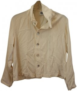 Chico's Luxury Silk Soft Classic Button Down Shirt Cream