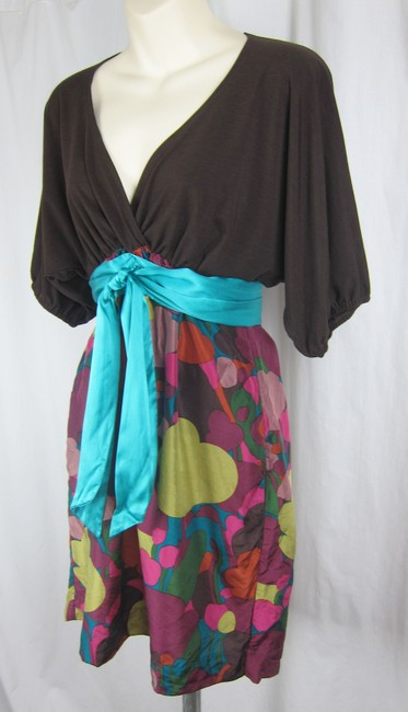 Hype short dress multi-colored Dolman Faux Wrap Tie Waist Colorful Silk on Tradesy