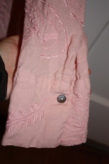 Chico's Embroidered Paisley Linen Button Down Shirt Pink