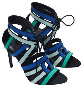 Zara Combination Strappy Open Tie New Nwt Nib Rare Bloggers 6 36 Tricolor Heels Nib Heels Strappy Heels Cage Heels Blue Black Green Sandals