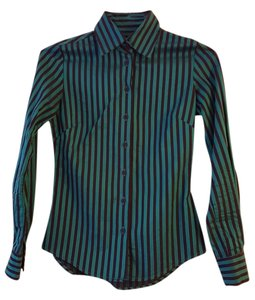 Ben Sherman Cotton Stripe Pinstripe Button Down Shirt Blue