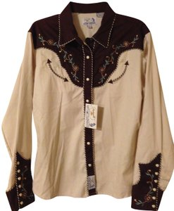 Panhandle Slim Cowgirl Western Fun Button Down Shirt Tan with Brown and Blue Accents