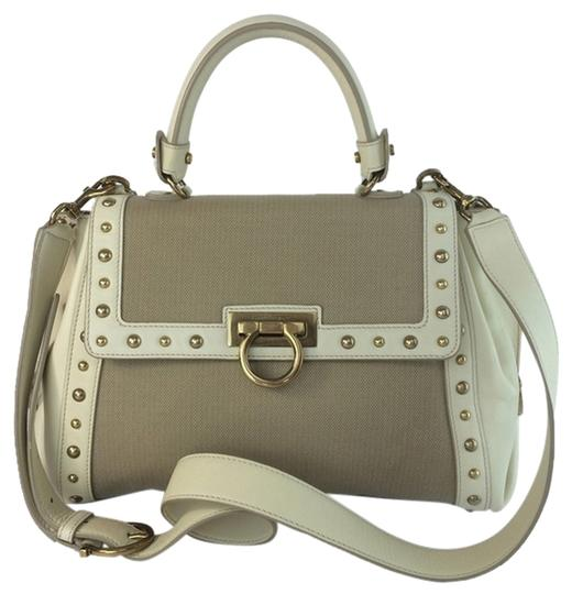 Salvatore Ferragamo Sofia Studded Shoulder Champagne Satchel in Desert Beige Tan