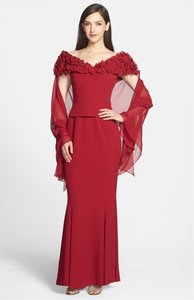 Daymor Couture Cerise (Deep Raspberry) Ruffle Neckline Flared Gown & Stole 537583 Dress