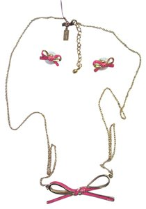 Kate Spade Kate Spade Pink Bow Necklace and Earrings Set