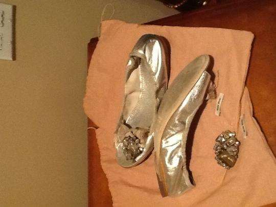 Miu Miu Box & Dust Bag Included Silver Flats