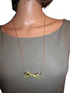 Kate Spade Kate Spade Skinny Mini Light Green Bow Enamel Necklace