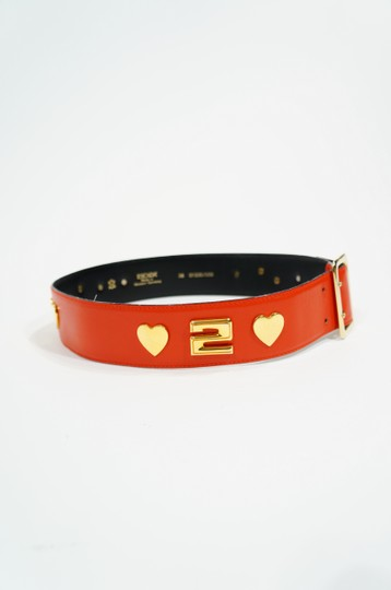 Escada Escada Red Leather & Gold Tone Heart 252 Belt