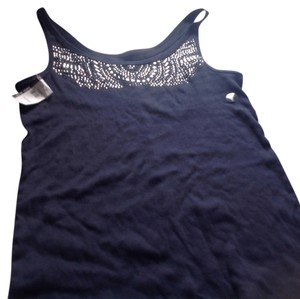 New York & Company Brand Tags Top Navy blue with rhinestone detailing