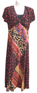 Black Multi Maxi Dress by Carole Little Maxi Bias Cut Colorful Artsy Vintage