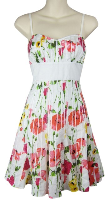 Guess short dress white, pink Floral Flowers Flutter Sweetheart Summer on Tradesy