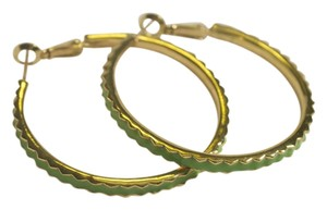 Kate Spade Kate Spade Green Enamel Pie Crust Hoop Earrings
