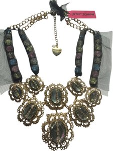 Betsey Johnson Jewel Glam Gold Lace Statement Necklace