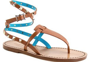 Valentino Leather Beige Turquoise Cuir/Parrot Blue 36.5(EU) NWT Sandals