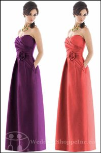 Alfred Sung Peau De Majestic Strapless Full Length Peau De Majestic D499 Dress