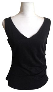 Escada Made In Italy V-neck Stretch Metallic Ruched Top Black