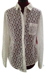 Isaac Mizrahi Lace Blouse Longsleeve Button Down Shirt White