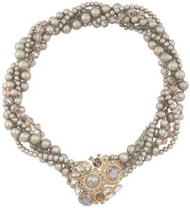 Carole Little The Evelyn Torsade Necklace sandgold stone 1 small stone missing
