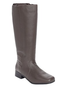 Comfortview Plus-size Leather Classic Chocolate Brown Boots