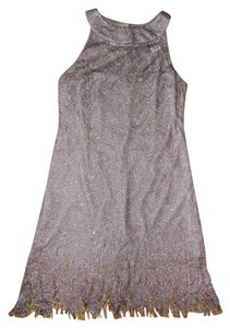 S.L. Fashions Metallic Crochet Fringe Hem Dress