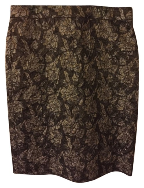 J.Crew Pencil Jacquard Collection Collection Skirt Green, silver, gold