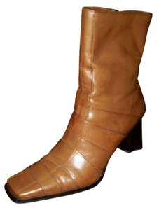 Maripé Square Toe Waffle Leather Midcalf Tan Boots