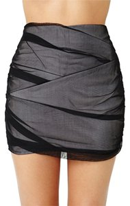 Nasty Gal Sexy Tiered Ruched Mini Skirt Gray/Black
