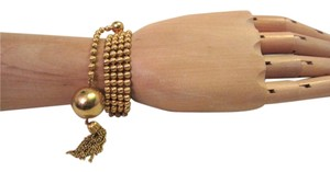 Kenneth Jay Lane 1970's Kenneth Jay Lane Gold Ball & Tassel 4-Strand Bead Bracelet Signed