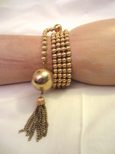 Kenneth Jay Lane 1970's KJL Gold Ball & Tassel 4-Strand Bead Bracelet Signed