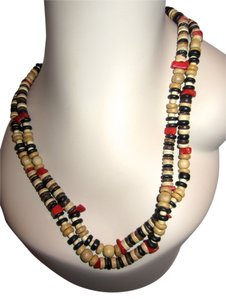 "Kenneth Jay Lane RARE KENNETH LANE WOOD BEAD & RED CORAL 48"" NECKLACE"