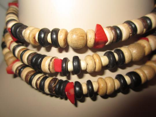 """Kenneth Jay Lane RARE KENNETH LANE WOOD BEAD & RED CORAL 48"""" NECKLACE"""