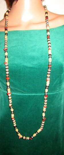 Kenneth Jay Lane RARE KENNETH LANE WOOD BEAD & RED CORAL 48