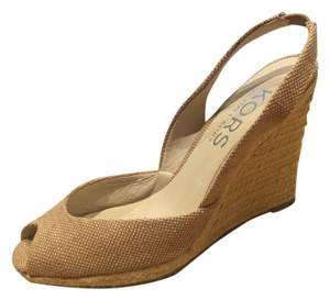 Michael Kors Canvas Tweed Neutral Vivian Slingback Peep Toe Nude, Luggage Wedges